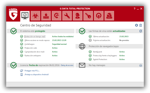 Screenshot G DATA Total Protection – Centro de seguridad