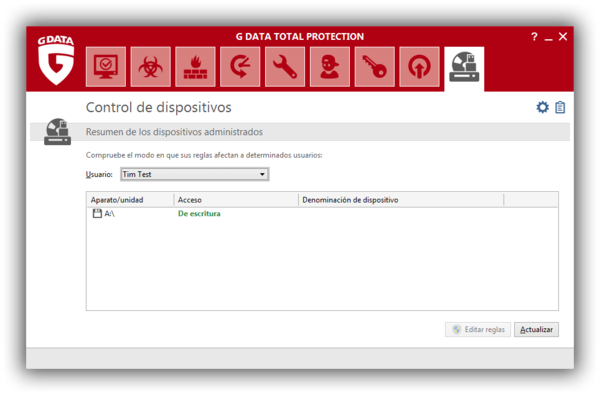 Screenshot G DATA Total Protection – Control de dispositivos