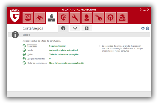 Screenshot G DATA Total Protection – Cortafuegos