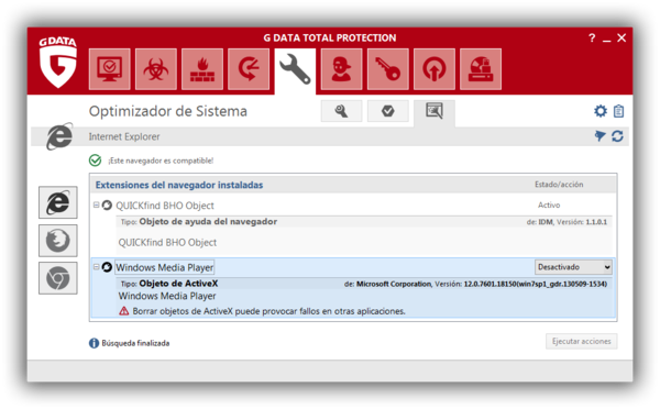 Screenshot G DATA Total Protection – Optimizador de sistema