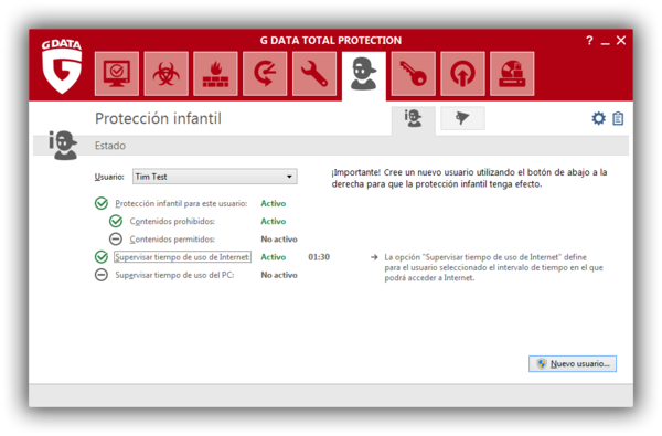Screenshot G DATA Total Protection – Proteccion infantil